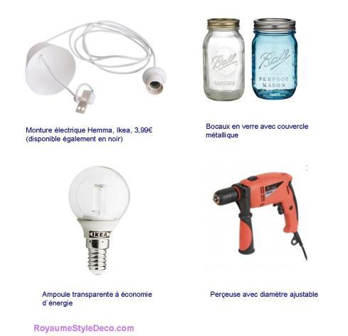 Accessoires pour fabrication de luminaire avec bocaux en verre, RoyaumeStyleDeco