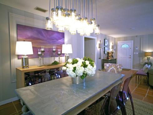 Luminaire suspension bocaux en verre, salle à manger, RoyaumeStyleDeco