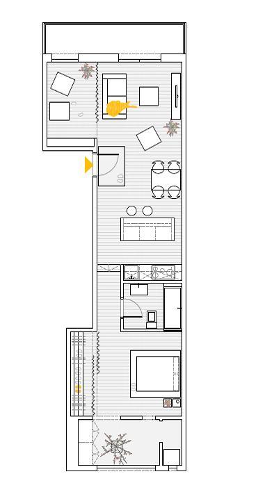 Plan Appartement Les Corts, Barcelone. Sergi Pons, Grup de Reformes.