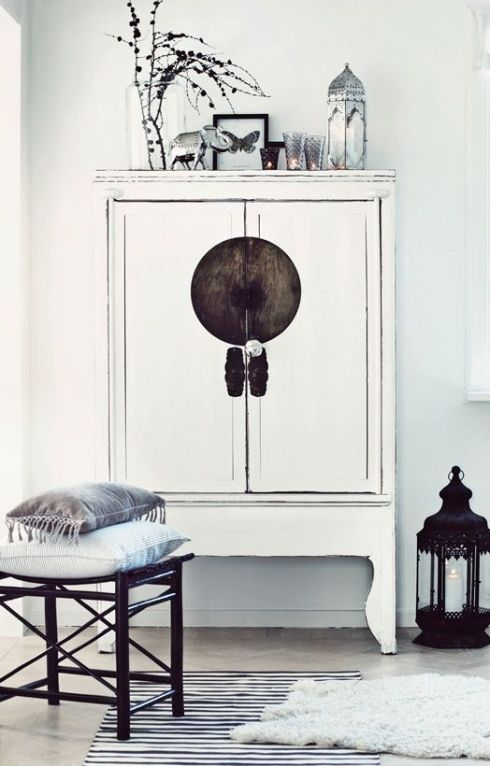 Armoire chinoise blanche style nordique