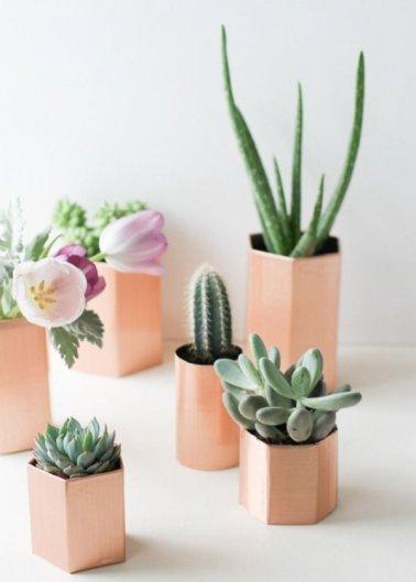 Décoration avec des plantes, cache-pots cuivrés