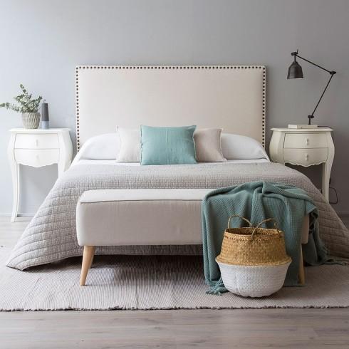 Tête de lit blanche cloutée Kenay Home