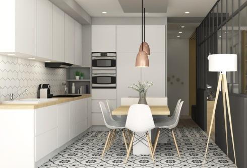 Rénovation Marion Lanoë, cusine avec carreaux dec iment, mobilier blanc, plan de travail bois, lampes cuivre